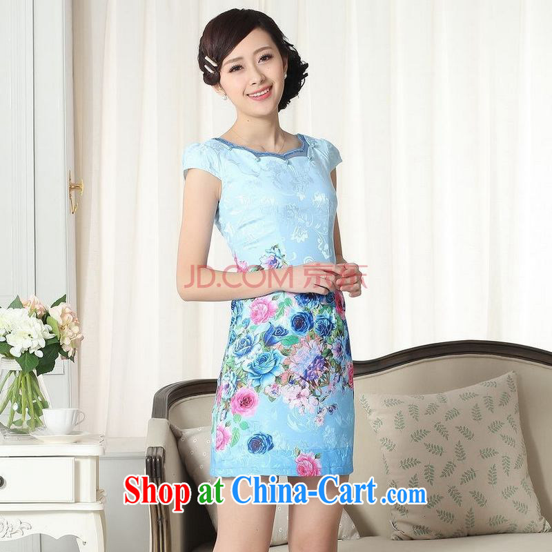 For Pont Sond�� Diane summer new female elegance short Chinese qipao improved graphics thin short cheongsam picture color XXL