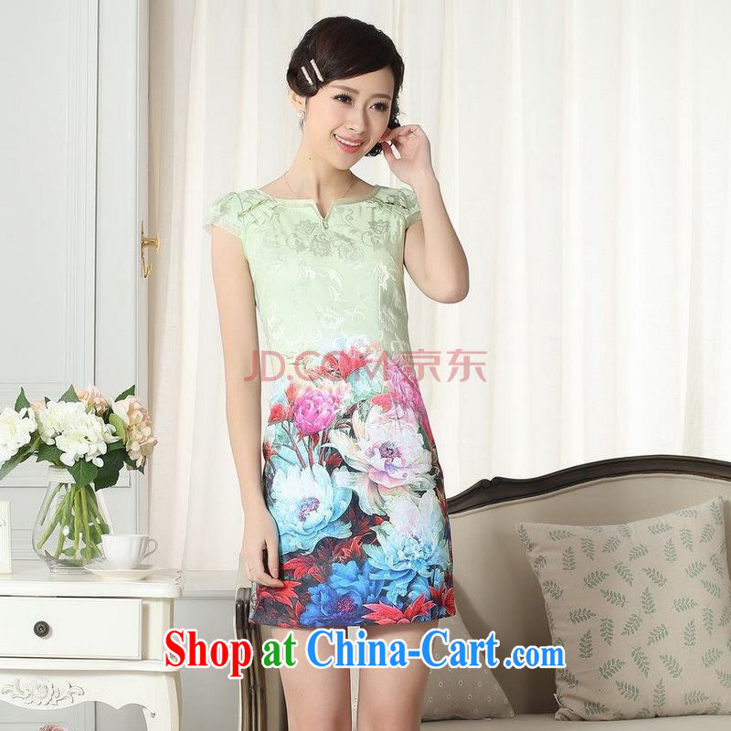 For Pont Sondé Diane summer new female elegance short Chinese qipao improved graphics thin short cheongsam picture color XXL