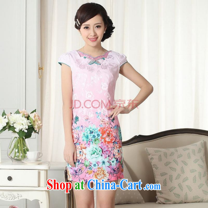 For Pont Sond� Diane summer new female elegance short Chinese qipao爄mproved graphics thin short cheongsam picture color XXL