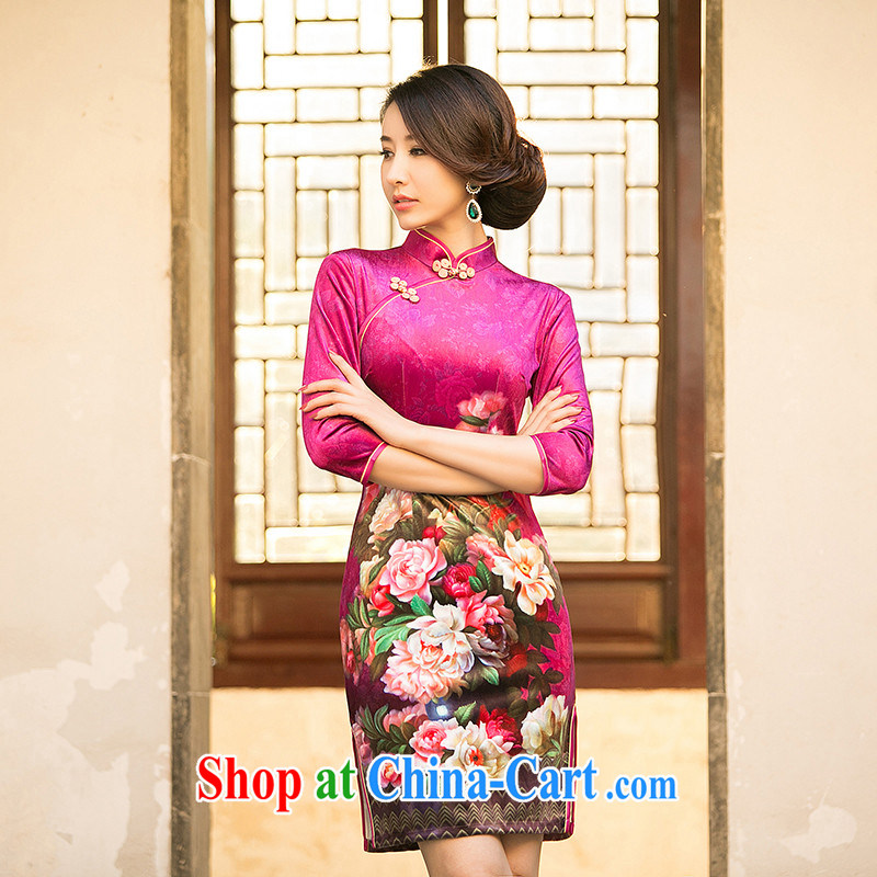 The Yee-SHA-wing 2015 new spring and summer improved cheongsam dress scouring pads, short-sleeved stamp duty cheongsam dress ZA 082 red 2 XL
