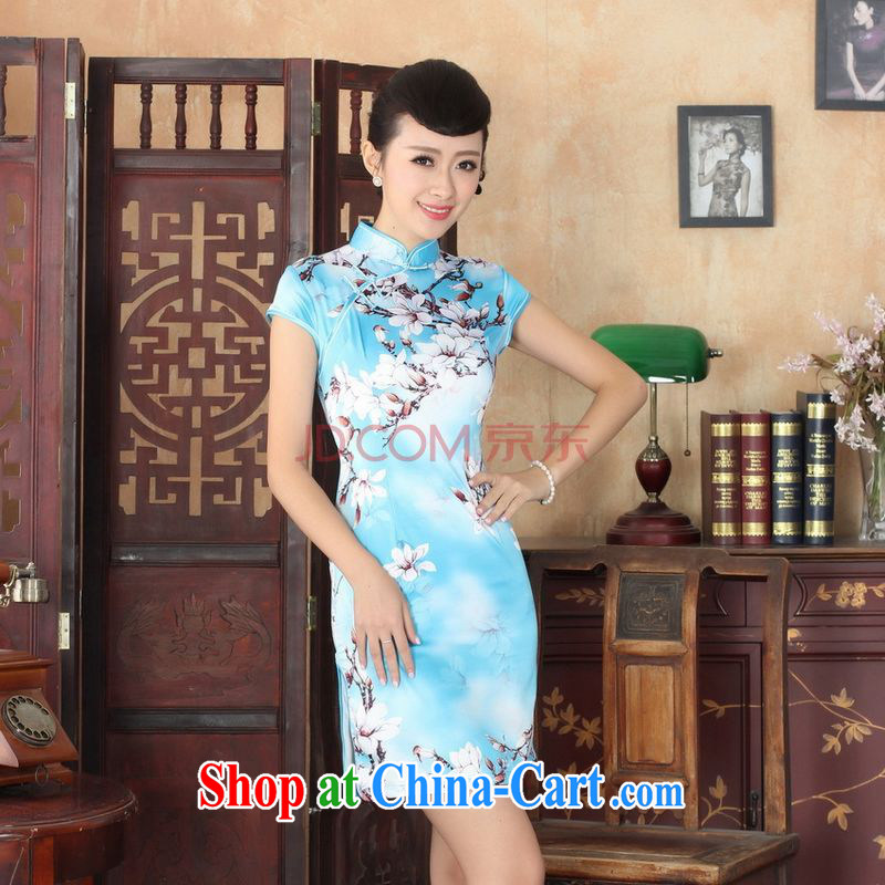 For Pont Sond�� Ms. Diane new summer elegance Chinese qipao Chinese graphics thin short cheongsam picture color XXL