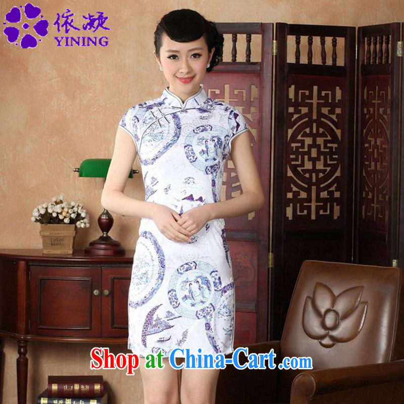 According to fuser summer new female ethnic wind improved Chinese qipao, for a tight short cultivation, the Lao People's Chinese qipao dress LGD/D #0226 figure 2 XL