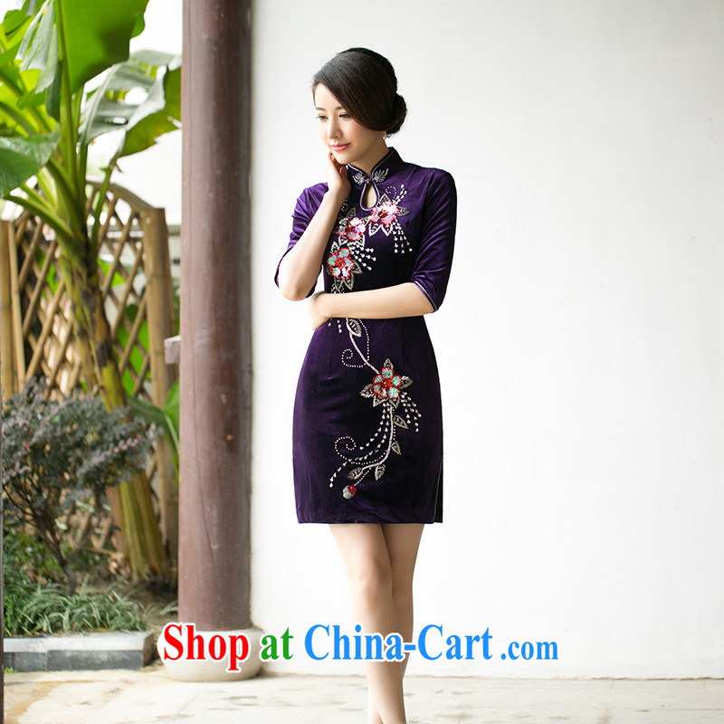 The cross-sectoral Windsor watch 2015 new spring and summer staple manually Pearl velvet short cheongsam retro, short-sleeved cheongsam dress ZA 083 purple 2 XL