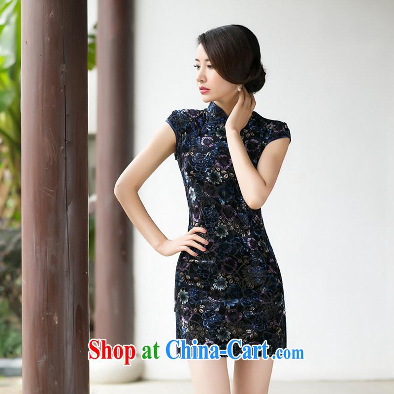 The cross-sectoral discretion Elizabeth the 2015 Spring Summer, short-sleeved retro improved daily velvet cheongsam dress, cheongsam dress ZA 084 suit 2 XL