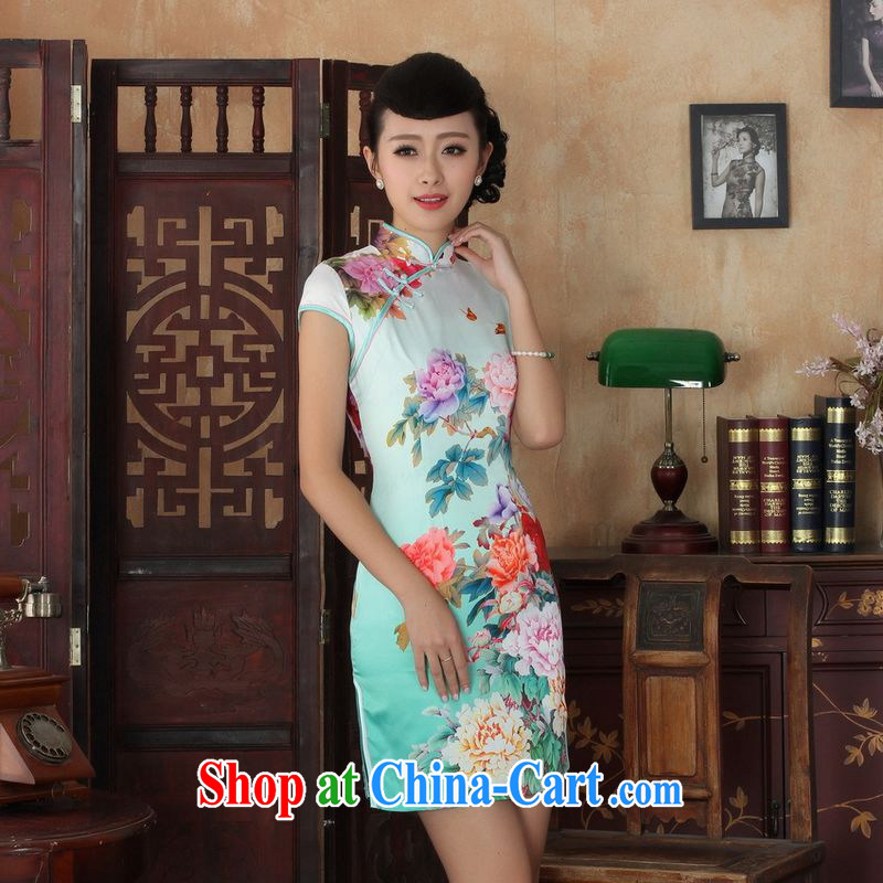 Property is property, short, cultivating Chinese qipao new female elegance Chinese cheongsam dress Chinese graphics thin short cheongsam picture color 2 XL