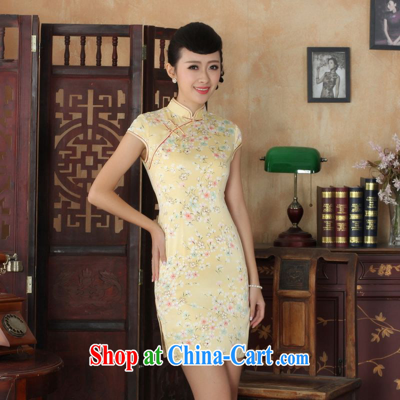 Floor is floor summer new Chinese cheongsam dress girls decorated in elegant style Chinese qipao Chinese graphics thin short cheongsam picture color XL
