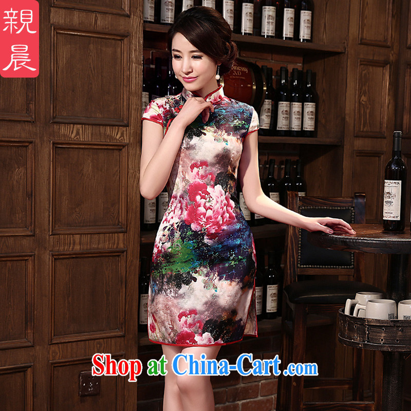 pro-am 2015 New Silk Cheongsam dress, Retro sauna silk summer dresses daily dress improved stylish red 2 XL