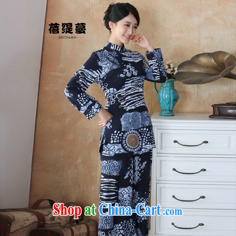 Mrs Ingrid sprawl economy Ethnic Wind girls pants Chinese cotton Ma water and ink stamp duty cotton Ma female Kit T-shirt + pants 2503 - 3-Pack XXXXL
