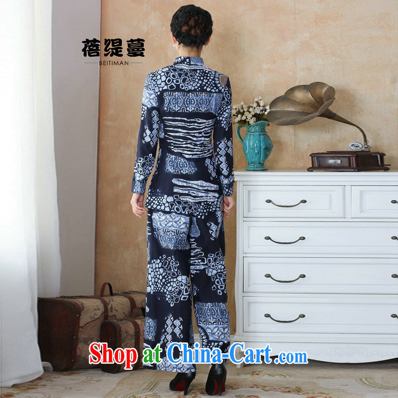 Mrs Ingrid sprawl economy Ethnic Wind girls pants tang on cotton the water and ink stamp duty cotton the female Kit T-shirt + pants 2503 - 3-Pack XXXXL, Mrs Ingrid economy sprawl, shopping on the Internet