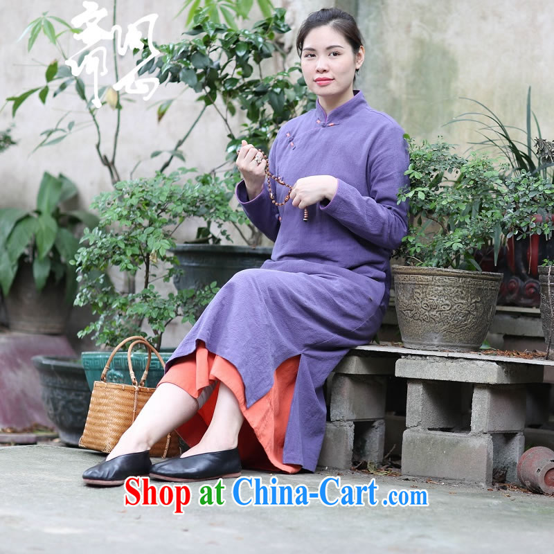 Ask a vegetarian _Yue heart -- spring and summer clothes new cotton the Chinese-tie skirt qipao gown side open's 1900 purple cheongsam _450 L