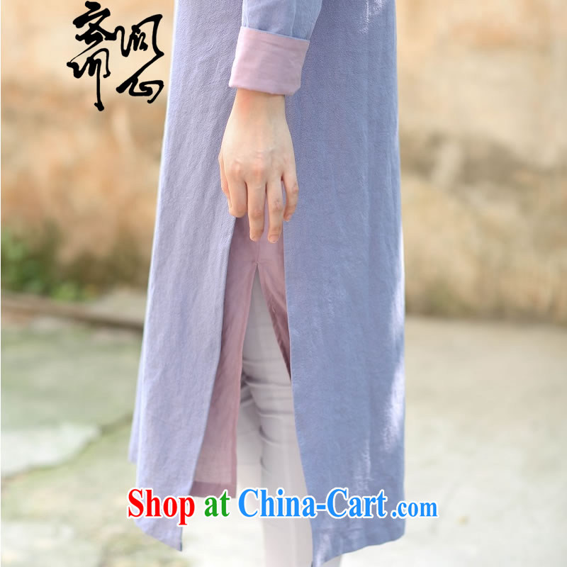 Asked about Ramadan and the Hyatt heart health female spring new cotton Ma style robes of improved wind dresses round-collar-tie 1901 light purple with a pink lining L, ask heart ID al-Fitr, shopping on the Internet