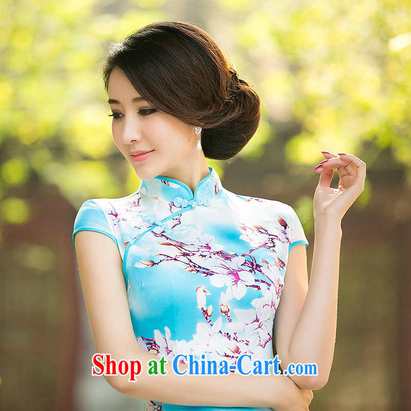 The cross-sectoral Gyangze Elizabeth Perry new summer daily improved cheongsam dress short-sleeved stamp silk, Ling cheongsam dress, qipao ZA 047 blue XL