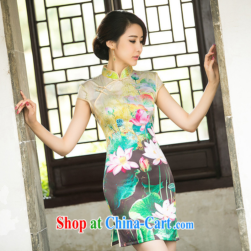 The Chi-ching her eyes new summer silk low-power's improved day-old fashioned qipao cheongsam dress Ms. stamp duty cheongsam dress ZA suit 049 2 XL