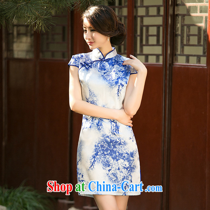 The Yee-sa-drunk new summer blue and white porcelain stamp cheongsam dress short-sleeve, collar, daily improved cheongsam dress ZA 050 fancy M