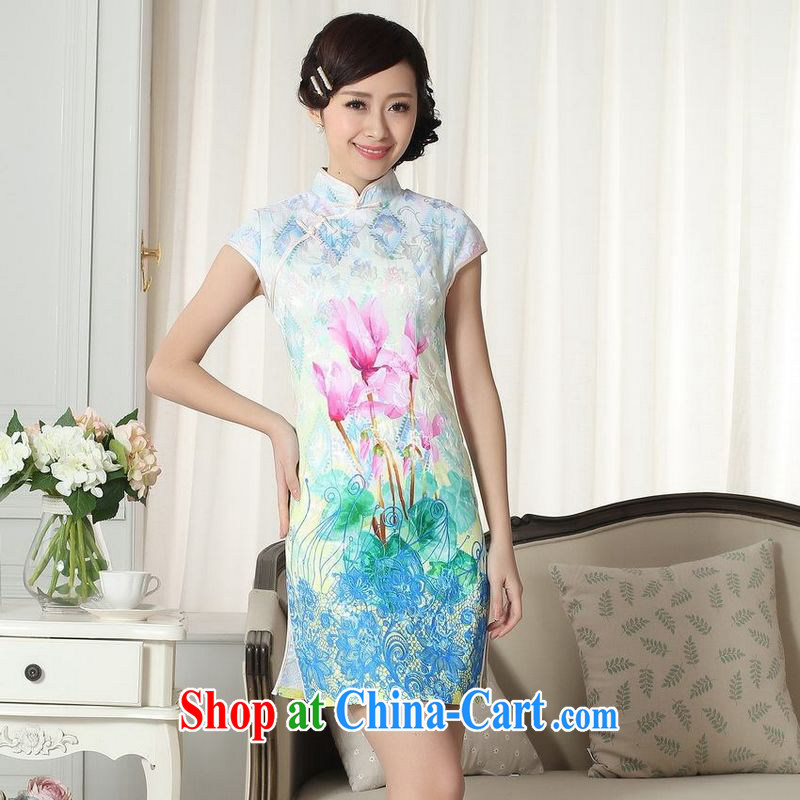 Building is building new summer elegance Chinese qipao Chinese graphics thin short cheongsam picture color XL
