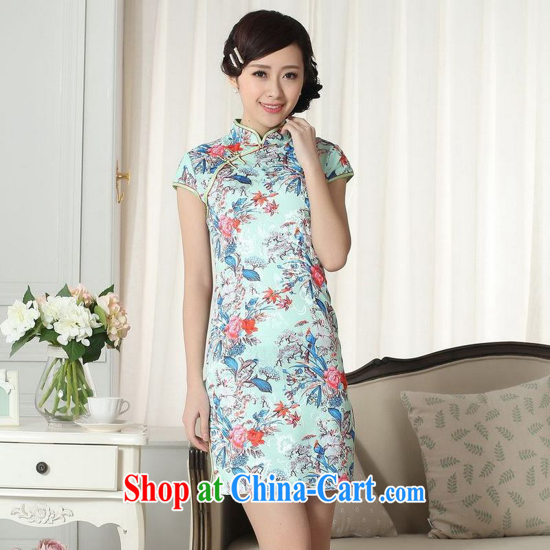 Building is building new summer elegance Chinese qipao Chinese graphics thin short Flag photo color 2XL