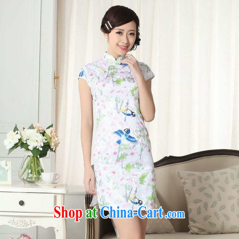 Building is building new summer elegance Chinese qipao Chinese graphics thin short cheongsam picture color 2 XL