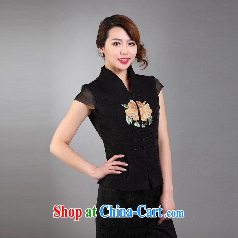 Mrs Ingrid sprawl economy 2015 New National wind Han-female Chinese summer Ms. Chinese improved retro short-sleeved embroidered T-shirt black XXXL