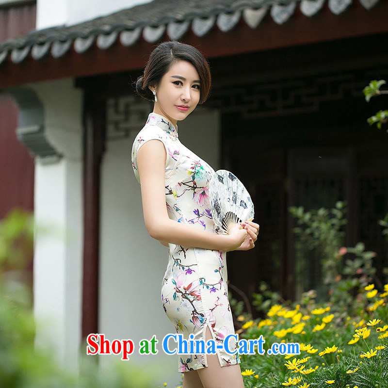 The absence of Elizabeth's Philippine new summer daily improved cheongsam dress hand-tie-'s cheongsam dress, qipao ZA suit 051 2 XL