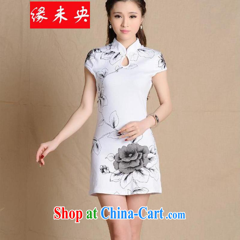 Edge is not the central 2015 new female ethnic wind painting beauty antique dresses cotton C C 531 5907 white XL