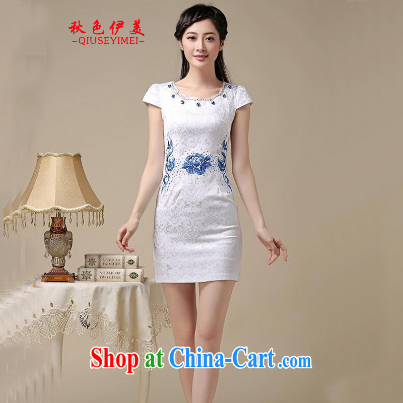 Colors of autumn, and spring and summer dresses short stylish improved daily cheongsam dress retro Tang Load Graphics thin elegant elegant evening dress Blue on white flower XXL