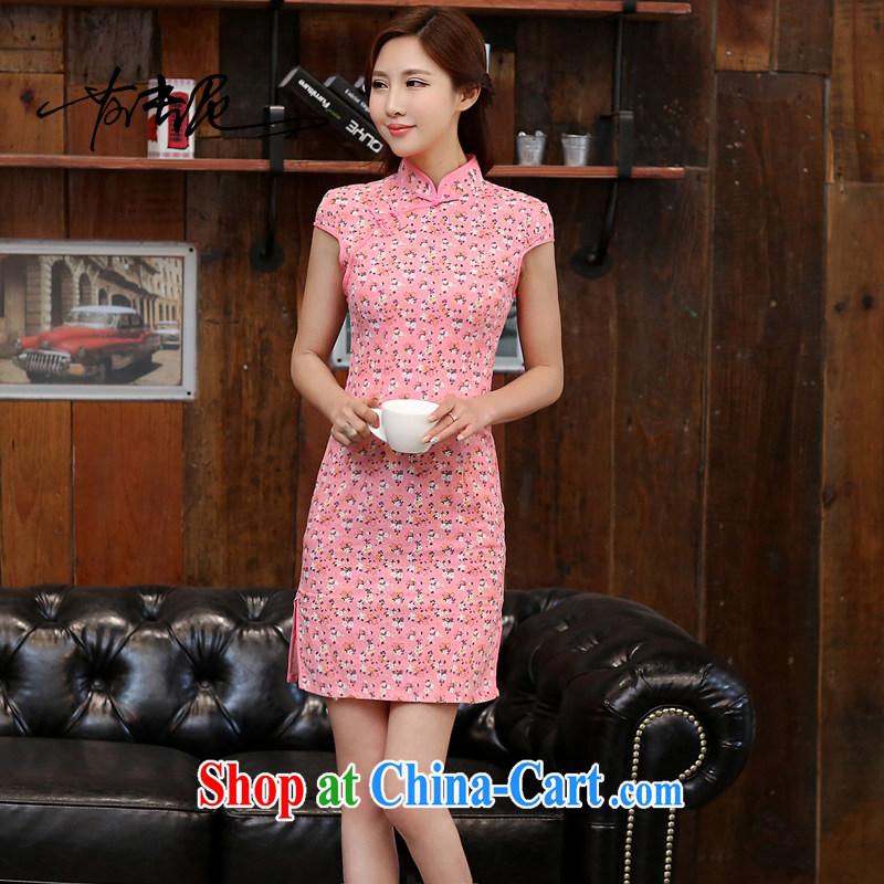 2015 new summer improved stylish cultivating short-sleeved dresses retro floral double-collar jacquard cotton cheongsam dress 985 floral L