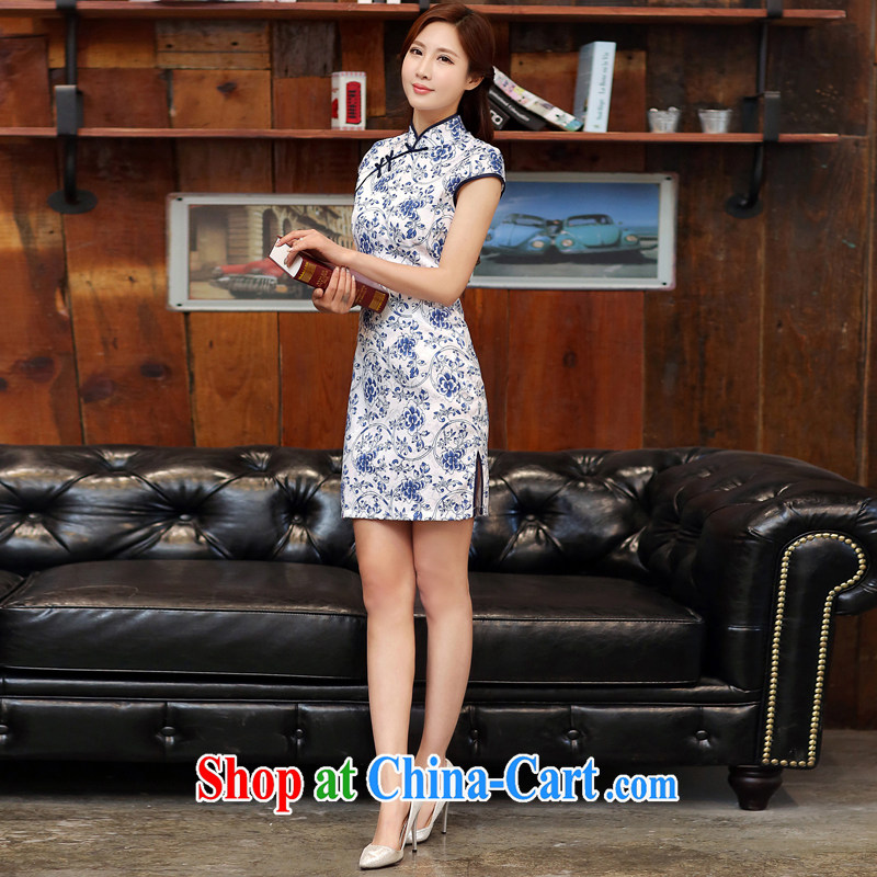 Blue and white porcelain cheongsam dress spring 2015 new improved stylish daily short cheongsam dress beauty package and summer women 988 white blue M