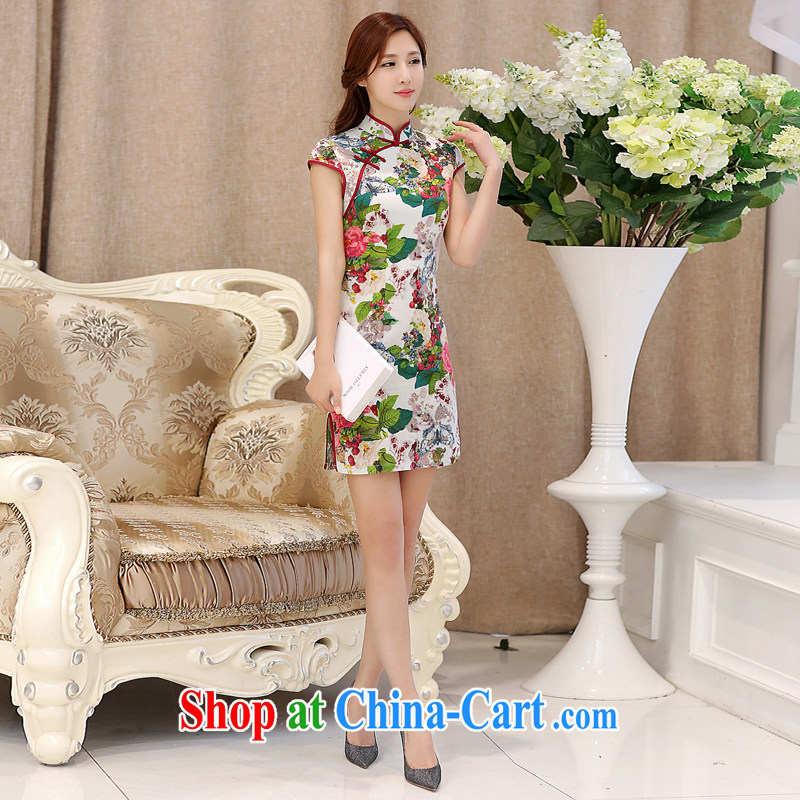 2015 new summer improved stylish cultivating short-sleeved dresses retro floral double-collar jacquard cotton cheongsam dress 985 Butterfly Dance flowers M