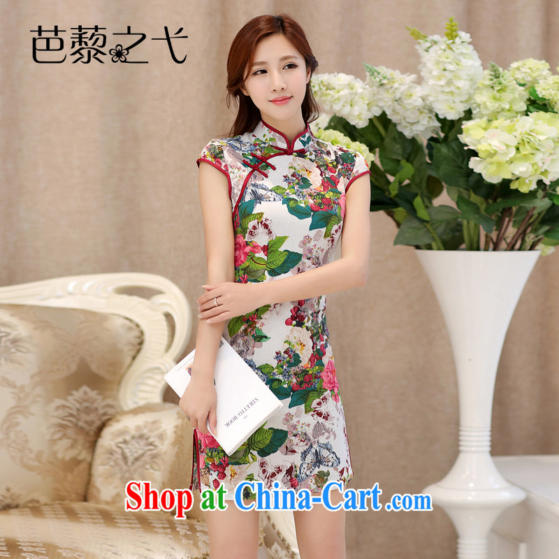 2015 new summer improved stylish cultivating short-sleeved dresses retro floral double-collar jacquard cotton cheongsam dress 985 Butterfly Dance flowers XL