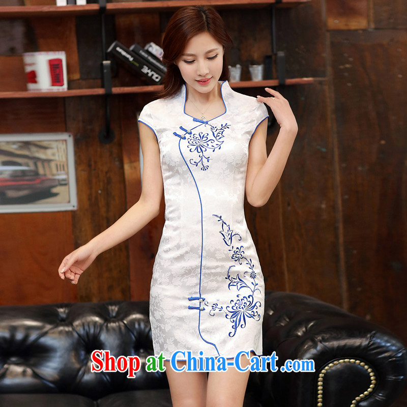 Dresses 2015 new summer white jacquard cotton retro daily improved cheongsam dress style 986 women in tight blue Peony S
