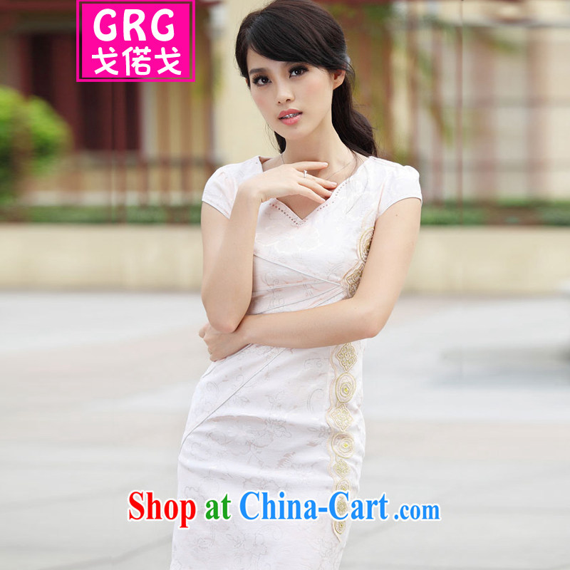 Golden Harvest, snow 2015 new stylish Ethnic Wind and refined improved cheongsam dress apricot XL