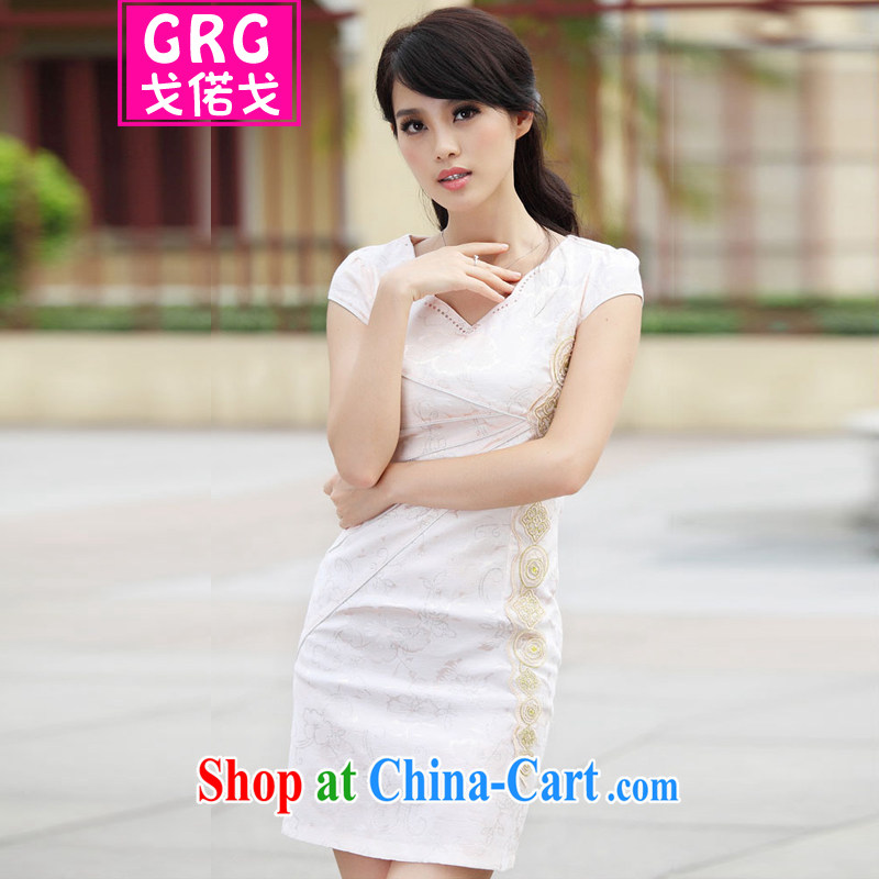Golden Harvest, snow 2015 new stylish Ethnic Wind and refined improved cheongsam dress apricot XL, Gore called Al Gore, shopping on the Internet