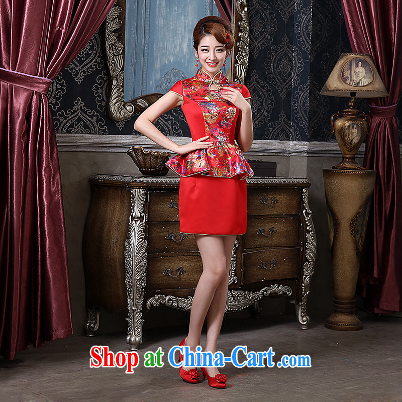 The china yarn new short cheongsam national improved cheongsam beauty package and bride toast dress red back doors welcome dress red stamp S
