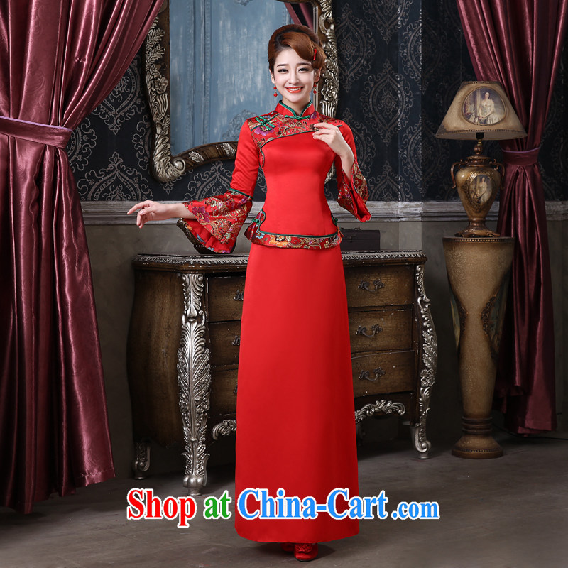 The china yarn-su Wo service bridal gown red Chinese Antique toast served long-sleeved wedding dresses-soo and back-door Evening Dress welcome red to size is not returned.