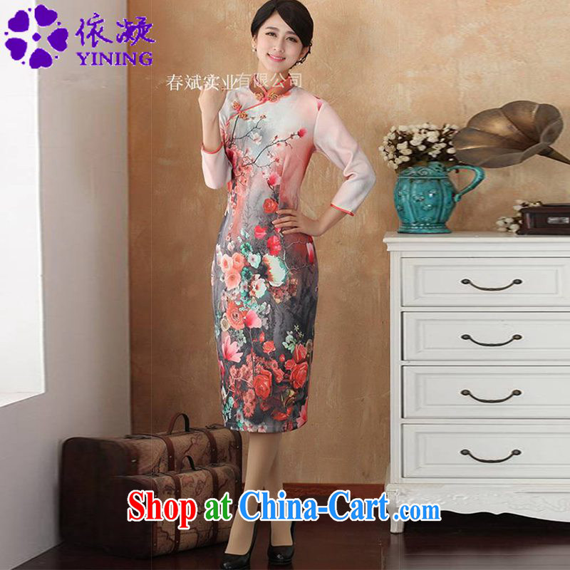 According to fuser stylish new ladies retro improved Chinese qipao, for a tight Classic tray clip Sau San Tong with skirt outfit WNS/2515 # 4 #2 XL
