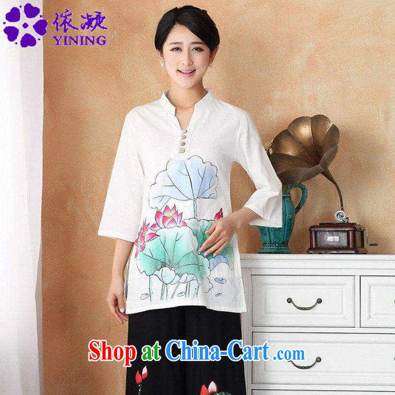 According to fuser new female Ethnic Wind improved Chinese qipao, for hand-painted 7 cuff Tang fitted T-shirt WNS/2392 # 1 #3 XL