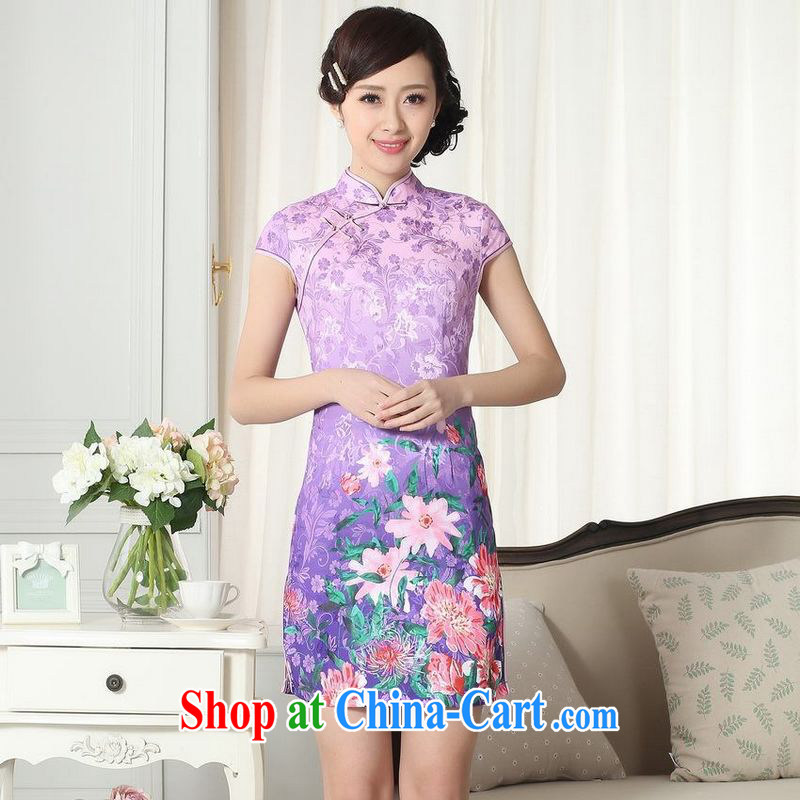 Floor is floor lady stylish jacquard cotton cultivating short cheongsam dress new Chinese qipao gown picture color XL