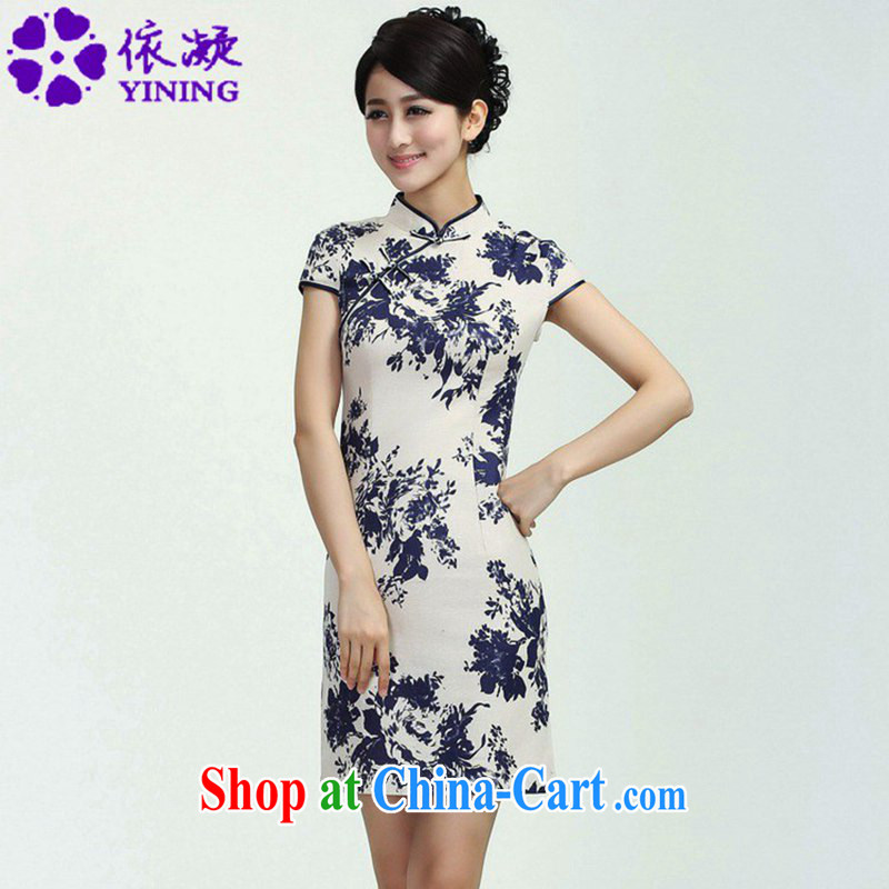 According to fuser new female daily improved Chinese qipao is a flap Classic tray snap suit beauty short Chinese qipao dress WNS_2368 _3 - 3 _2 XL