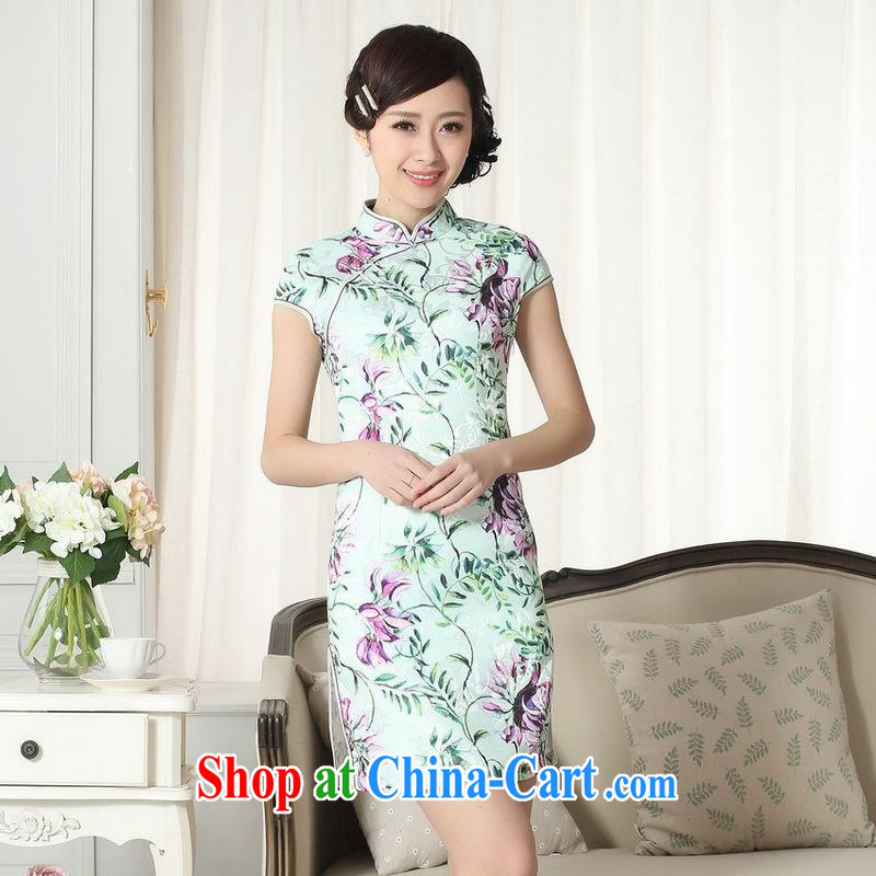 Floor is floor lady stylish jacquard cotton cultivating short cheongsam dress new Chinese qipao gown picture color 2 XL
