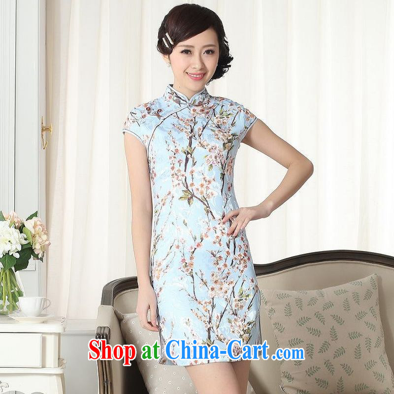 ground floor is still building new summer female jacquard cotton daily Chinese short sleeves cheongsam beauty short cheongsam picture color 2 XL