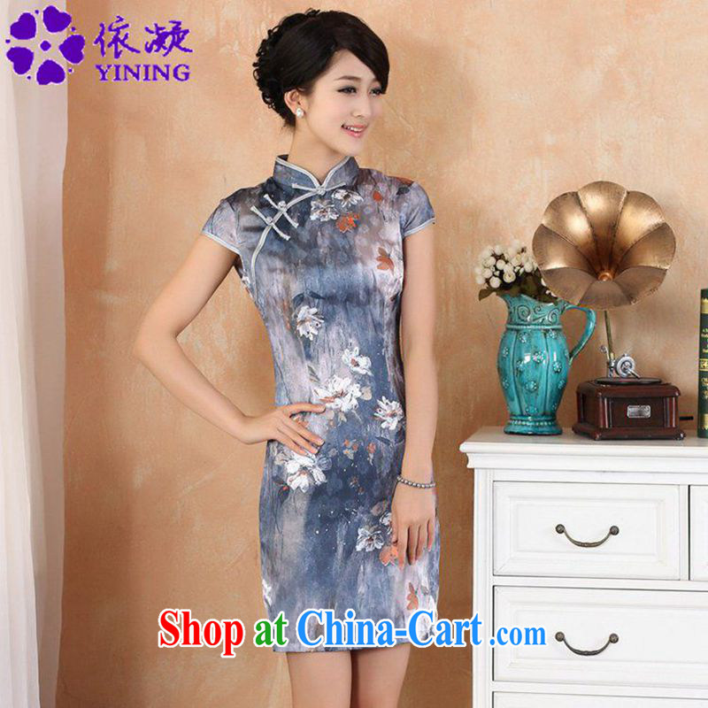 According to fuser stylish new ladies retro improved Chinese qipao, for a tight short-sleeved cultivating short Chinese qipao dress WNS/2329 # 1 #2 XL