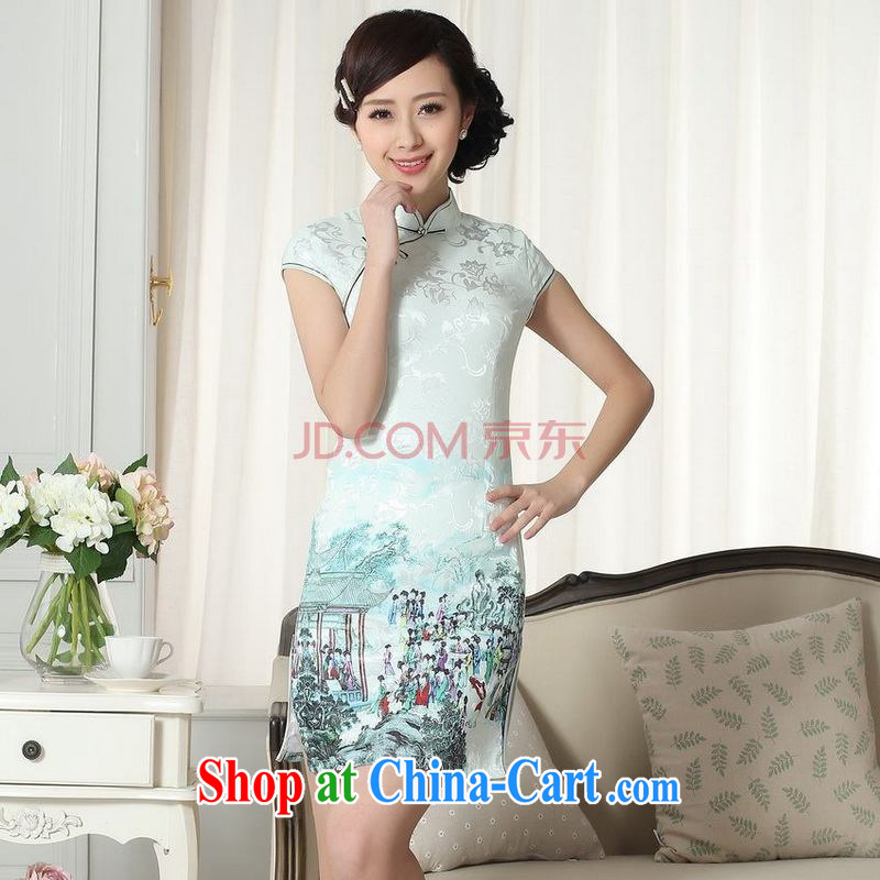 Nigeria, the Summer new lady fashion beauty short Chinese qipao dress cotton robes picture color XXL, Nigeria, and shopping on the Internet