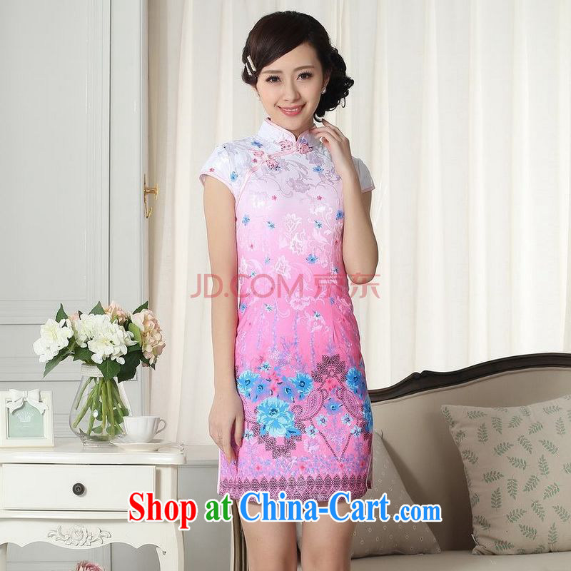 Nigeria, the lady stylish jacquard cotton cultivating short cheongsam dress new Chinese qipao gown picture color XXL