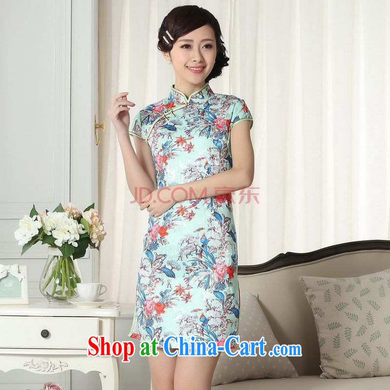 Nigeria, the new summer elegance Chinese qipao Chinese graphics thin short flag picture color XXL