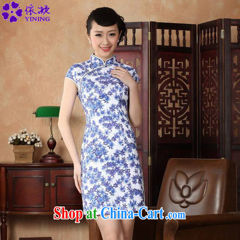 According to fuser summer stylish new clothes daily improved Chinese qipao, for classical-tie Sau San short cheongsam dress LGD_D _0223 figure 2 XL