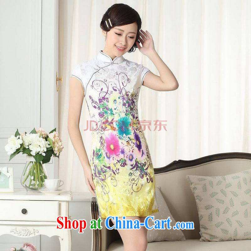Nigeria, the lady stylish jacquard cotton cultivating short cheongsam dress new Chinese qipao gown picture color XXL, Nigeria, and, shopping on the Internet