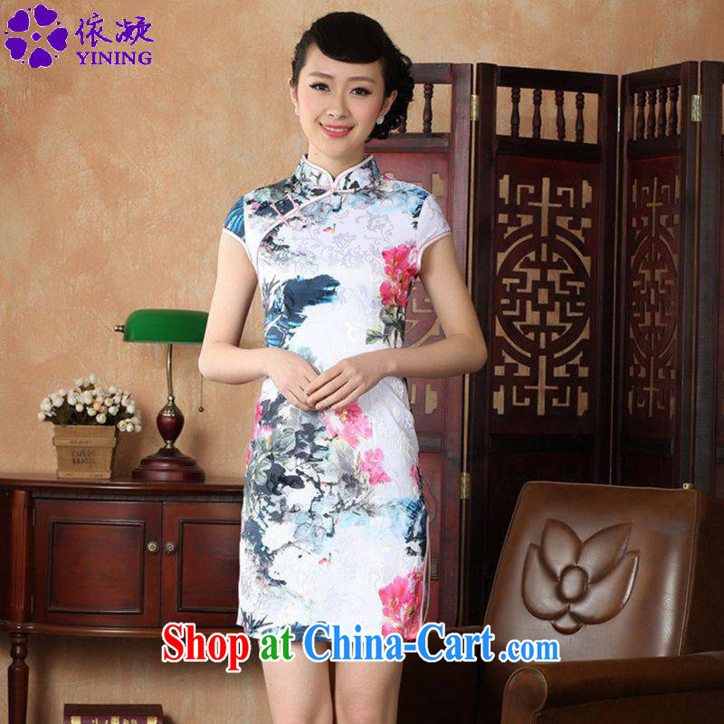 According to fuser summer new retro improved Chinese Chinese qipao, for a tight Classic tray for cultivating short sleeve cheongsam dress LGD_D _0224 figure 2 XL