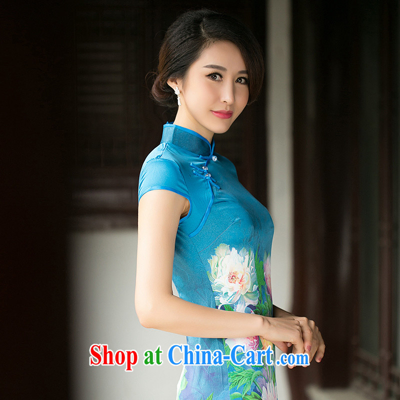 The Yee-Windsor book Chow new summer short-sleeve floral cheongsam dress daily improved Silk Cheongsam dress ZA suit 052 2 XL