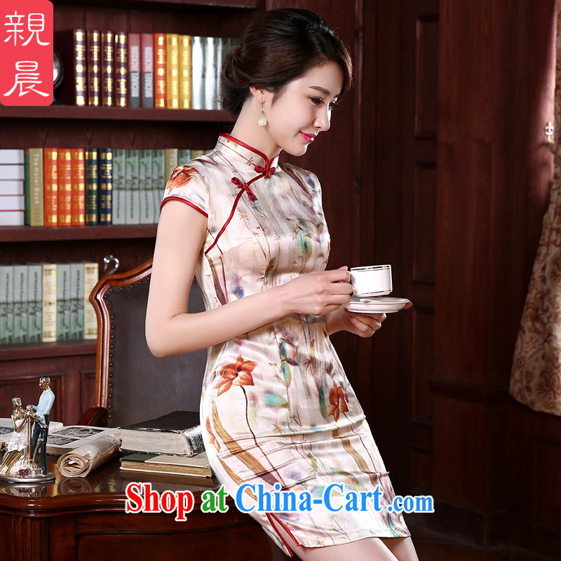 pro-am 2015 New Silk Cheongsam dress (Spring/Summer retro dos santos day Silk Cheongsam dress improved stylish suit 3 XL
