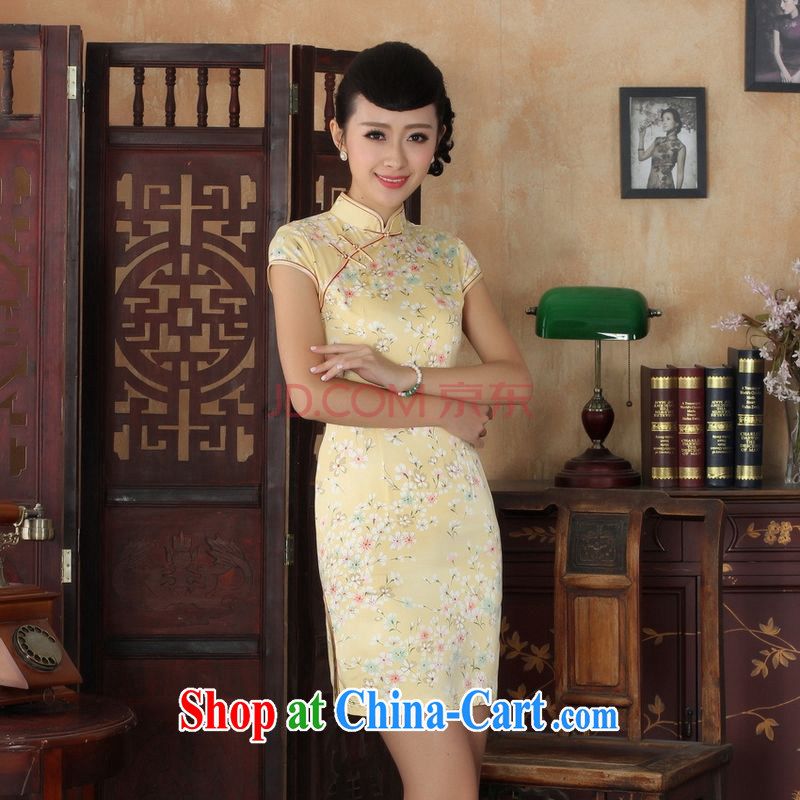 For Pont Sond� Diane summer new Chinese cheongsam dress girls decorated in elegant style Chinese qipao Chinese graphics thin short cheongsam picture color XL